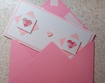Handmade Pink and White Heart Any Occasion Card with Custom Envelope