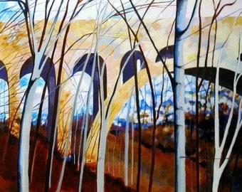 Birches, Bridge: Wissahickon Landscape Painting