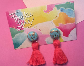 Tassel Earrings Tropical Punch - Polymer Clay with Rose Gold