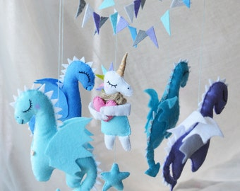 Baby mobile. Dragons mobile. Mother of Dragons. Games of thrones. Unicorn mobile. Felt toys. wool. Dragon. Nursery mobile. Baby crib