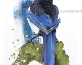 Magpie Giclee Print a4