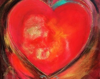 Acrylic painting - Big Red Heart