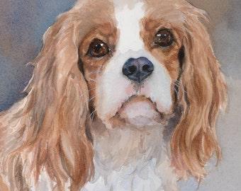 Cavalier King Charles Spaniel Print of Watercolor Dog Painting, Blenheim, dog portrait, pet portrait, Adored Dogs, puppy, art, Edie Fagan
