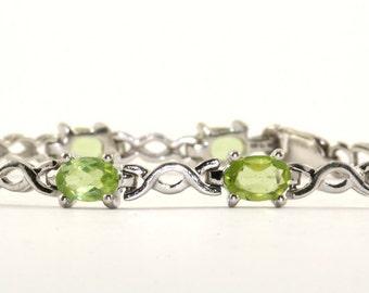 Vintage Oval Green Crystals Tennis Bracelet 925 Sterling Br 2044