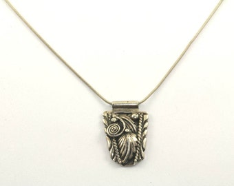 Vintage Scroll Design Leaf Necklace 925 Sterling Silver NC 449