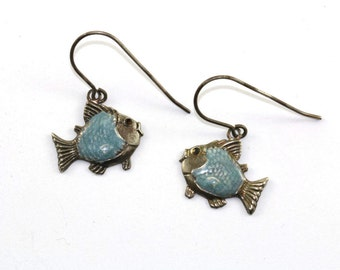 Vintage Enamel Fish Shape Dangle Earrings Sterling Silver ER 545-E
