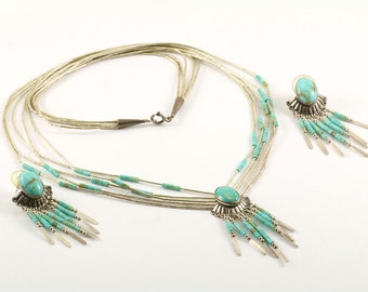 Vintage Navajo Set Dangle Turquoise Necklace Earrings 925 Sterling Silver NC 857-E