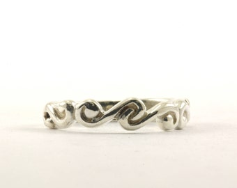 Vintage Wave Scroll Design Band Ring 925 Sterling Silver RG 1802-E