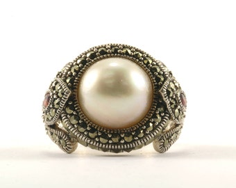 Vintage Freshwater Pearl Marcasite Ring 925 Sterling Silver RG 2103-E