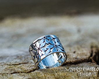 Beautiful Flower Ring Handmade Sterling Silver Unique Jewelry