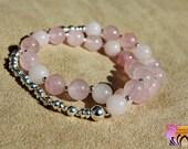 Rose Quartz and Silver Wrist Mala-Bracelet-Beaded Bracelet-Yoga Jewellery-Boho-Handmade-Energised
