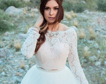 Wedding Top , Long Sleeve Bridal Lace Top, Ivory Blush Wedding Top, Lace Wedding Topper, Zipper Back Wedding Top, Sheer Lace Top - Rosa