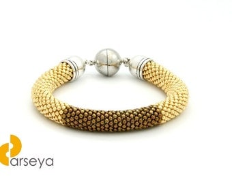 Gold brown beaded bracelet, crochet rope, bangles, bead crochet, beadwork bracelet, crochet with beads, geometric pattern, beaded bracelet