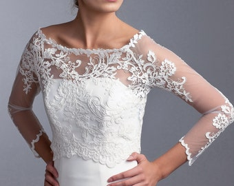 Lace wedding bolero, Lace jacket, wedding bridal jacket, lace topper, bridal topper with 3/4 sleeves with irregular pattern