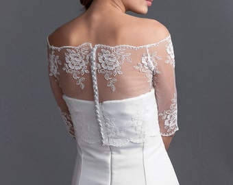Off -shoulder bridal lace bolero, lace bolero, bridal jacket, bridal lace bolero with 3/4 sleeves