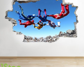Skydiving Wall Sticker 3d Look - Boys Kids Bedroom Extreme Sport Wall Decal Z122