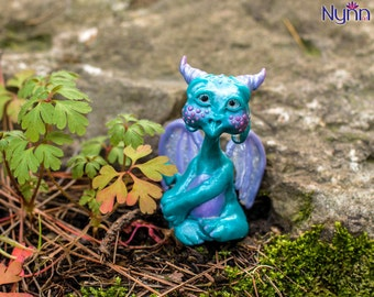 Mia OOAK Dragonling - Turquoise Lilac Dragon Figurine - Polymer Clay Sculpture - Collectible Fantasy Figure