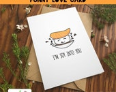 SUSHI SOY LOVE card couple love anniversary gift soy salmon japanese emoji art cute punny food pun birthday kawaii date download gift print