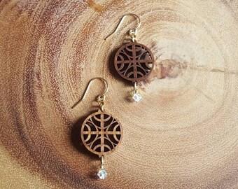 Wood & Crystal Earrings