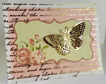 Mother's Day Card - Vintage Style Mother's Day Card - Butterfly Mother's Day Card
