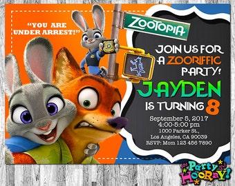 Zootopia Invitations, Zootopia Invite, Zootopia Birthday, Zootopia Party, Zootopia Printables, Zootopia Custom, Zootopia Thank You Card Free