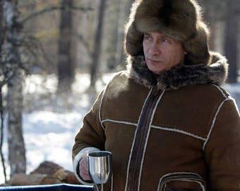 Fur hat Putin, Raccoon Fur hat, Hat of Russian fur, Siberian fur, Mongolian hat