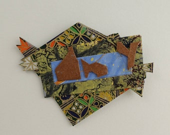 Collage Pin #4 Paper Art to Wear