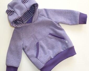 Hoodie hooded sweater with Teddy ears Gr. 74