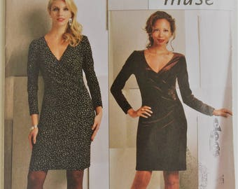 Butterick Muse sewing pattern B5280 - Misses' dress with mock wrapped front - multi size 14-22