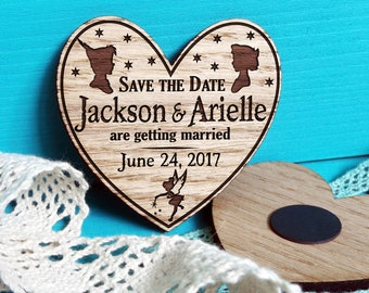 Save-The-Date Heart-Peter Pan Weding Invitation-Peter Pan Save The Date Magnet-Peter Pan Wooden Save The Date-Wedding Announcement-Neverland