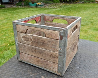 vintage milk crate wood and metal perforated farmhouse rustic industrial storage box country chic