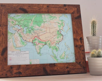 Old Vintage Framed Map Of Asia under the Mongols Office Home Decor Original Art Print Asian Medieval Trade  & Marco Polo Routes India China