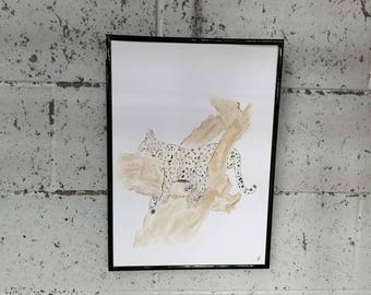 Original hand painted endangered Amur leopard wall decoration.