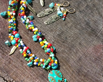 Braided seed bead necklace with charms