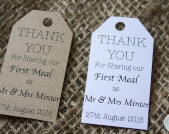 Personalised wedding 'first meal' thank you tags