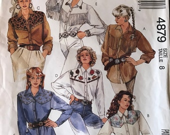 McCall's 4879 Misses Western Shirt Pattern 1990