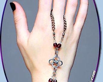 Crystalweave Slave Bracelet Handflower, Chainmail faerie jewelry hand bracelet, Elvish style hand flower, Elven fairy hand flower