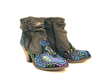Paisley Hand Painted Upcycled Faux Leather Women's Ankle Boots