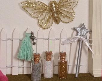 Fairy Door Accessory Pack, Fairy Wand, Fairy Dust, Glitter Butterfly, Magic Key, Miniature Wand