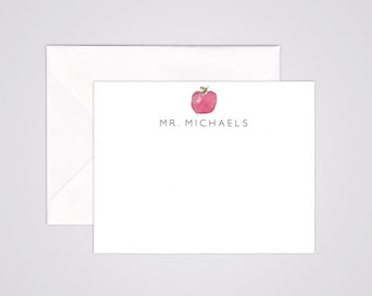 Red Apple Teacher Notecards - Hand Painted Watercolor - Back to School - Personalized Stationery - Teacher Gift - Sets of 10