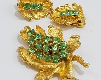 Stunning Gold Tone Brooch and Clip Earrings set with Mint Green Rhinestones