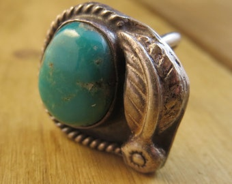Vintage Turquoise Ring Sterling Silver 925 Size 5 1/4 Natural Patina