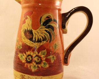Rooster Pitcher Bright, Colorful Tall Ceramic