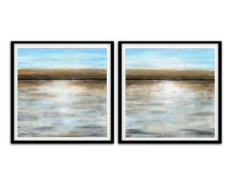 Set of 2 digital square print printable art wall decor instant download diptych art landscape abstract digital print modern artwork decor