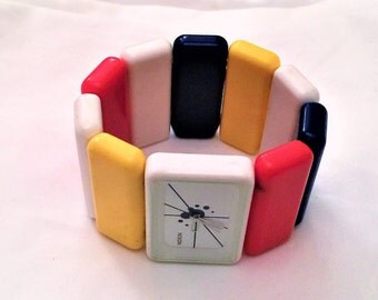 Mod Art Nixon Vintage Primary Colors White Blue Red Yellow Watch