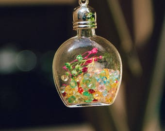 ⊙ bottle pendant flowers colorful