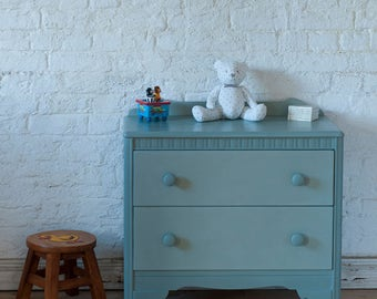 SALE* Child's Chest Of 2 Drawers hand painted in Duck Egg Blue Chalk Paint