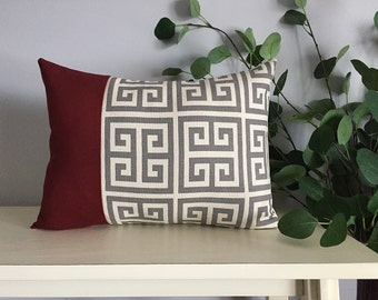 Decorative Pillow Cover, Color Block Pillow, Pillow with Burgundy Stripe and Greek Key Pattern