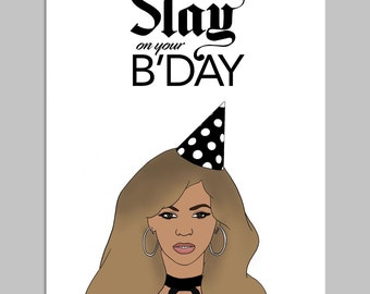 SLAY - Funny Card, Birthday Card, Card for Friend, Card for Girlfriend, Card for Him, Card for Her