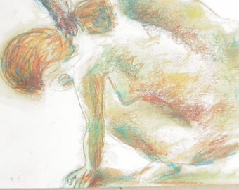 Original signed pastel drawing, after Rodin, on white A4 paper, naked woman, nude body drawing, female nude,